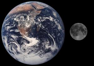 Confronto tra la terra e la luna