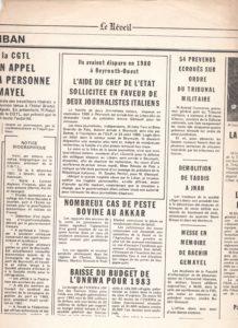 Articolo di un quotidiano libanese