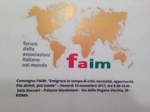 Emigrazione, locandina del convegno FAIM