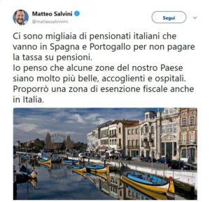 pensioni esentasse, il tweet di Matteo Salvini