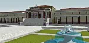 Ricostruzione della Curia di Pompeo, dove fu ucciso Cesare