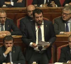Mes, Matteo Salvini parla al Senato