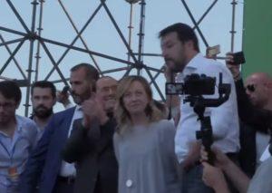 Giorgia Meloni, Silvio Berlusconi, Giorgia Meloni e Matteo Salvini