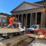 Piazza del Pantheon, Scavi archeologici dell'antica pavimentazione romana