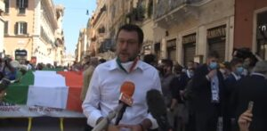 Rivoluzione liberale, Matteo Salvini a una manifestazione del centro-destra